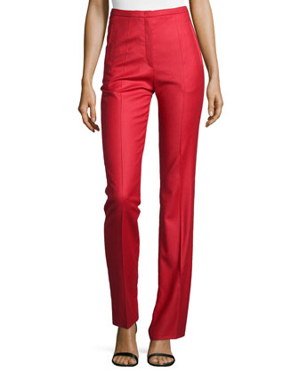 Wool-Blend Straight-Leg Pants, Lacquer