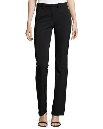 Belted Slim Pants, Black