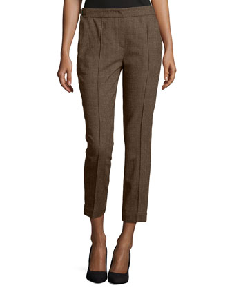 Cropped Wool-Blend Pants, Camel