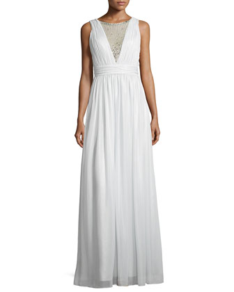 Sleeveless Deep-V Beaded-Inset Gown