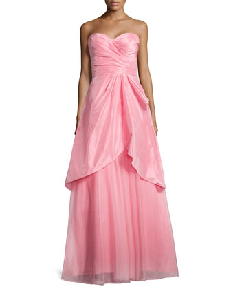 Strapless Draped Taffeta Gown