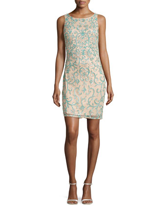Sleeveless Sequined Overlay Cocktail Dress