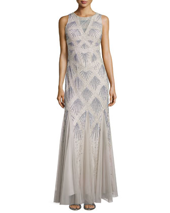 Pattern Beaded Godet Gown