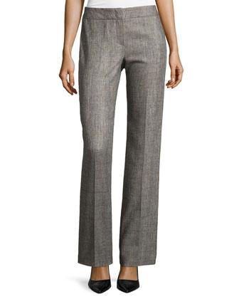Flat-Front Straight-Leg Pants