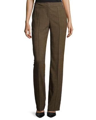 Flat-Front Wool-Blend Pants