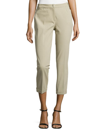Cuffed Ankle Pants, Khaki