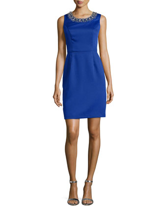 Sleeveless Scoop-Neck Beaded Sheath Dress