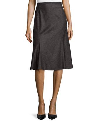 Wool-Blend Flared Godet Skirt