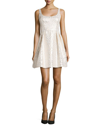 Fit-and-Flare Jacquard Party Dress