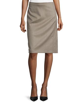 Pencil Silk-Blend Skirt, Olive