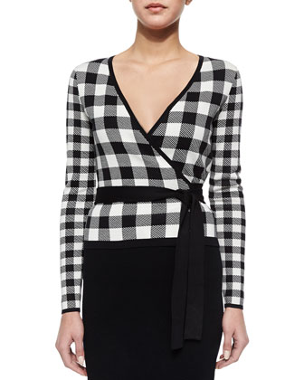Kyla Plaid Tie-Waist Cardigan