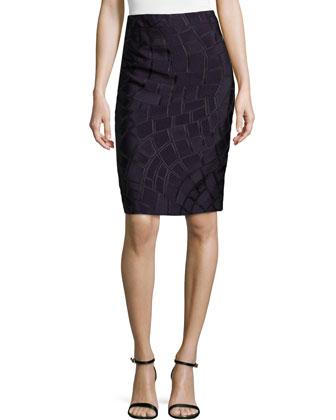 Textured Pencil Skirt, Iris