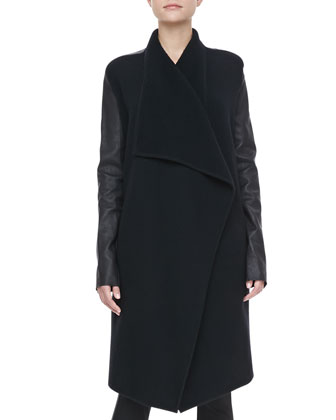 Leather-Sleeve Cashmere Coat