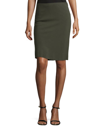 Pencil Skirt W/Basketweave Back, Olive