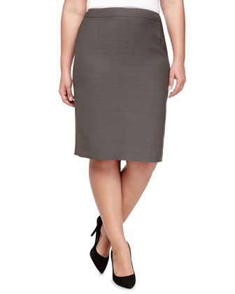 Wool-Blend Slim Pencil Skirt