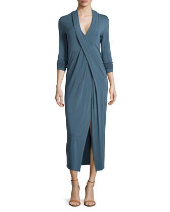 Long-Sleeve Crisscross Jersey Dress, Old Indigo