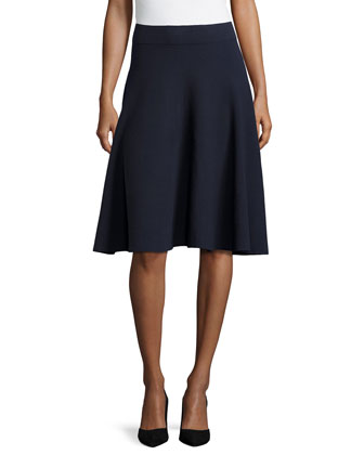 Fit-and-Flare Skirt, Navy