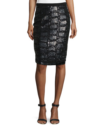 Sequined Front Pencil Skirt