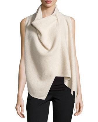Asymmetric Cashmere Vest, Parchment