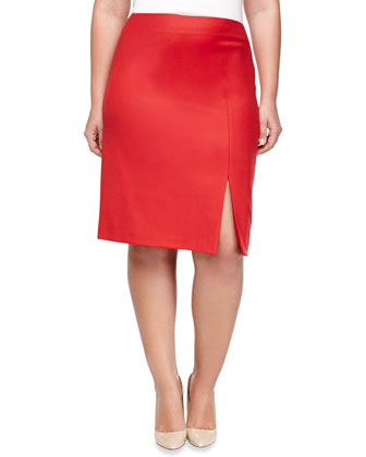 Wool-Blend Slim Skirt with Slit