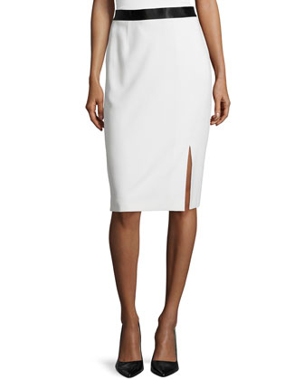Slit-Front Pencil Skirt, Off White