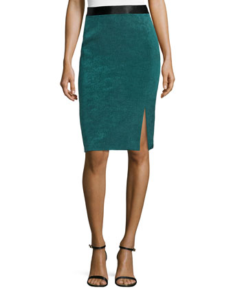 Slit-Front Pencil Skirt, Teal