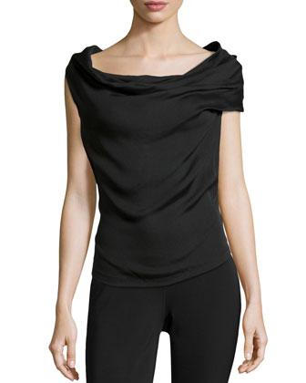Draped Front Sleeveless Top, Black