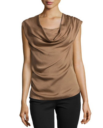 Draped Front Sleeveless Top, Tobacco