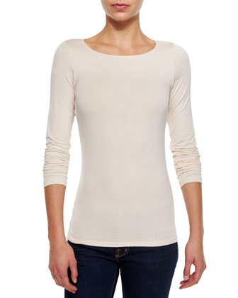Soft Touch Marrow-Edge Long-Sleeve Top, Pale Peach