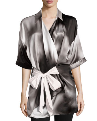 Wrap-Front Short-Sleeve Blouse, Black