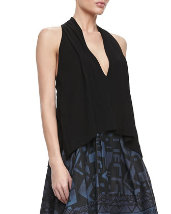 Sleeveless V-Neck Draped Blouse, Black
