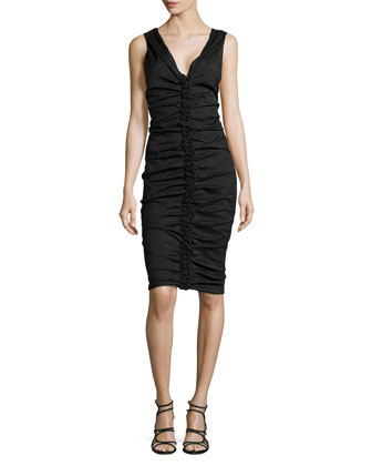 Sleeveless Sheath Dress with Ruching