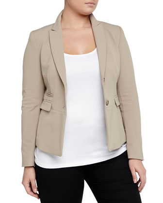 Two-Button Cropped Stretch Twill Blazer