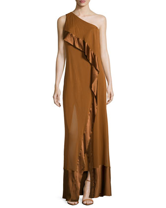 One-Shoulder Caftan Evening Gown, Musk