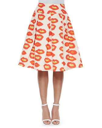 Blow Up Lips Japon Pleated Skirt