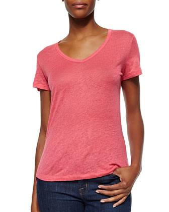 Short-Sleeve V-Neck Linen Top