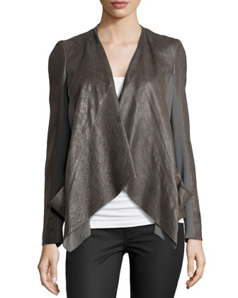 Draped Lambskin Leather Jacket with Jersey Panels, SLATE
