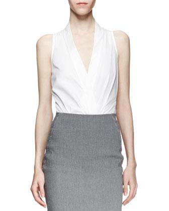 Sleeveless Plunging Poplin Bodysuit, White