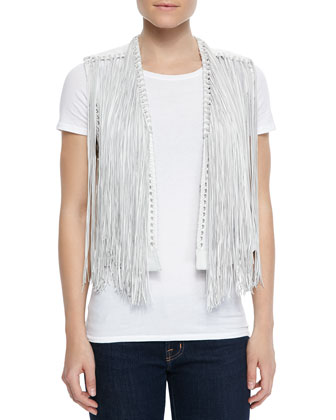 Brittany Leather Fringe Vest