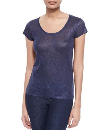 Short-Sleeve Metallic Linen Top
