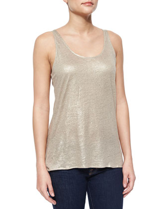 Sleeveless Metallic Linen Racerback Tank