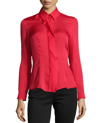 Pleated-Center Blouse, Lacquer