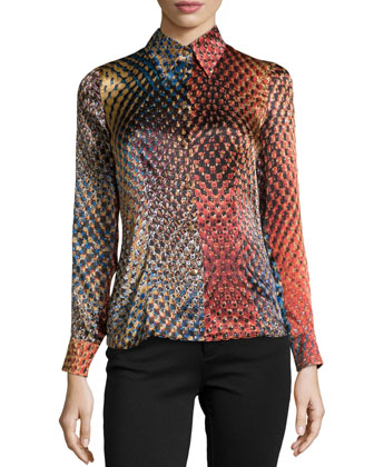 Long-Sleeve Printed Silk Top