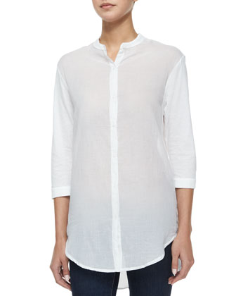 3/4-Sleeve Button-Front High-Low Shirt