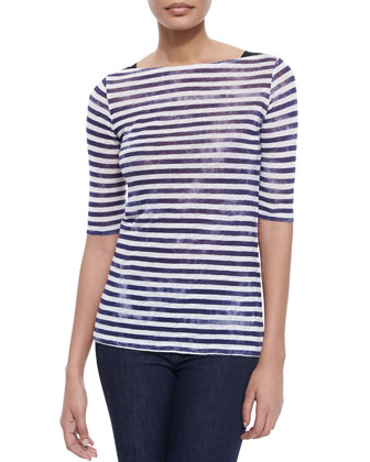 Striped Linen Half-Sleeve Top