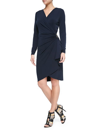 Long-Sleeve Cascade Wrap Dress