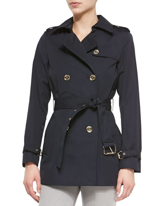 Short Belted Trench Coat, Navy, Women's