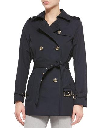 Short Belted Trench Coat, Navy, Women's