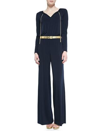 Long-Sleeve Chain-Neck Wide-Leg Jumpsuit