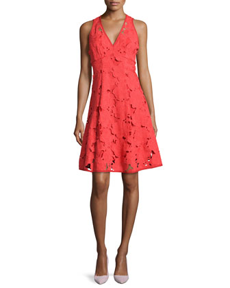 Mi Amor Sheath Dress with Cutwork Embroidery, Poppy